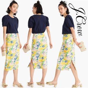 🆕JCREW lemon Floral Midi Skirt